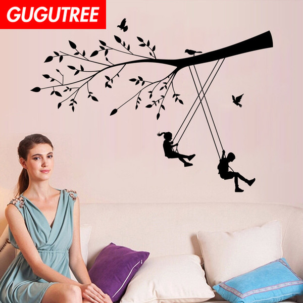 Decorate Home trees boys girls cartoon art wall sticker decoration Decals mural painting Removable Decor Wallpaper G-1862