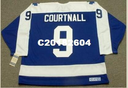 Mens # 9 RUS MAHKEMESI Toronto Maple Leafs 1987 CCM Vintage RETRO Hokeyi Jersey veya özel herhangi bir isim veya numara retro Jersey