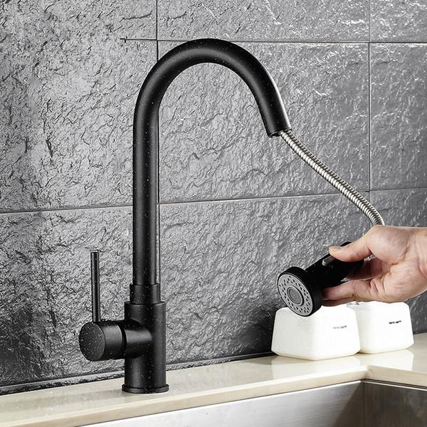 Pull Out nero verniciato Ottone rubinetto della cucina Kitchen Sink Tap spruzzatore nero M