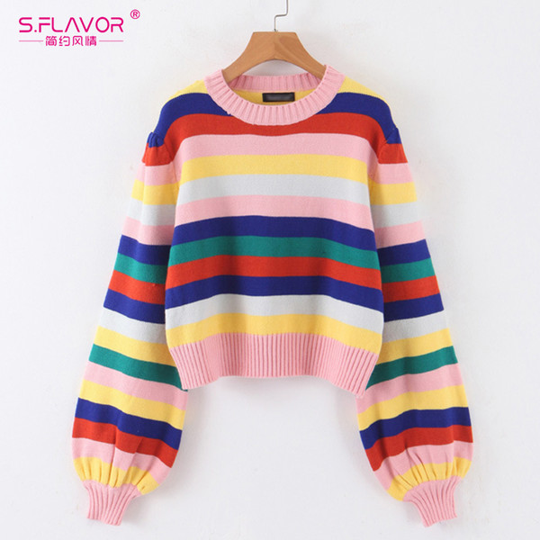 s.flavor fashion christmas knitted sweater women harajuku rainbow stripes lantern sleeve sweaters streetwear casual jumpers, White;black