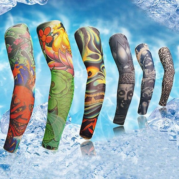 Impressão Elástica Respirável Esporte Alongar Skins Falso Tatuagem Braço Warmer Mangas Protetoras Homens Menino Sem Costura Tatuagem de Nylon Mangas DH0705
