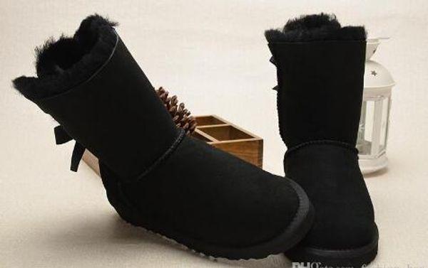 Hohe Qualität WGG Frauen klassische hohe Stiefel Frauen Bailey 2 Bögen Schneestiefel Winterstiefel Lederstiefel Zertifikat Staubbeutel Drop-Shipping