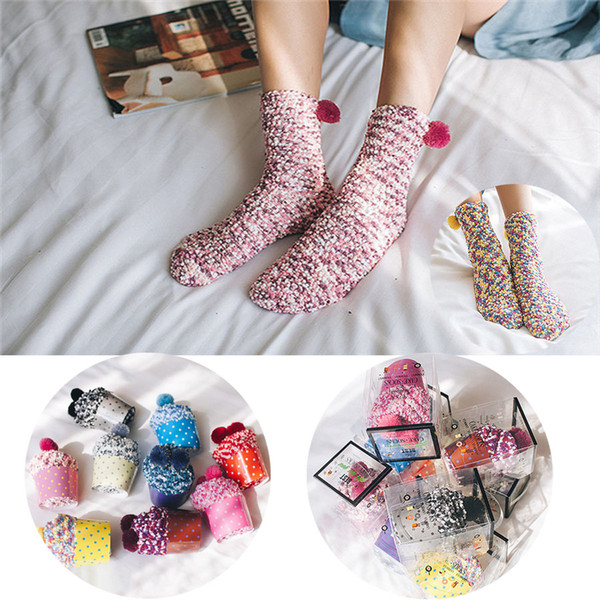 Hot Sale 9 Colors Winter Soft Warm Thermal Socks Creative Cup Cake Socks Coral Cashmere Christmas Socks for Girl Women Ladies Gifts G502S F