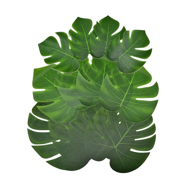 Decorations Artificial Dried Flowers 12pcs Artificial Monstera Palm Leaves for Hawaii Luau Party Decorations Wedding Table Decoration Gre...