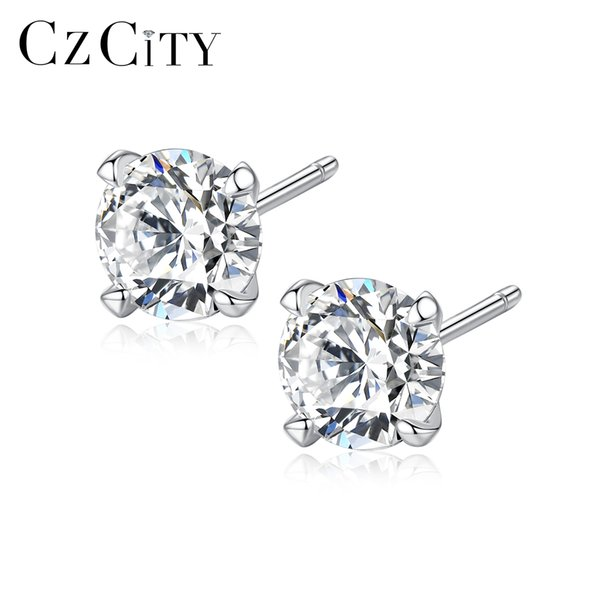 PAG&MAG Real 925 Sterling Silver Stud Earrings for Women Classic Four Claws Size 3mm /4mm/ 5mm/ 6mm Main Zircon Stone Ear Stud