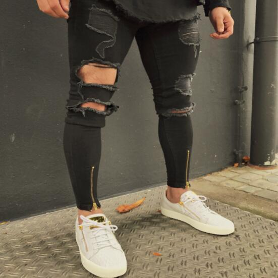 2019 Men's Black Pant Stretchy Ripped Skinny Biker Jeans Slim Fit Pleated Ripped Elasticity Male Tight Mid Wais