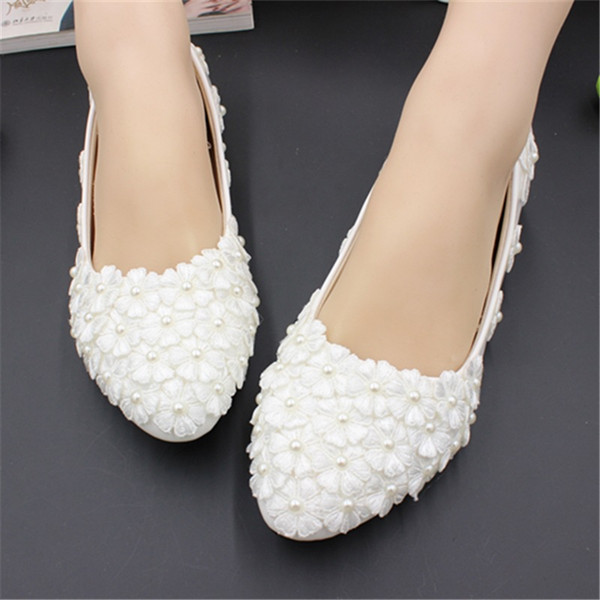 Comfortable White Flat Bridal Wedding Shoes 2019 Pearls Women Shoes With Appliques Slip-On Cheap Ladies Shoes High Quality