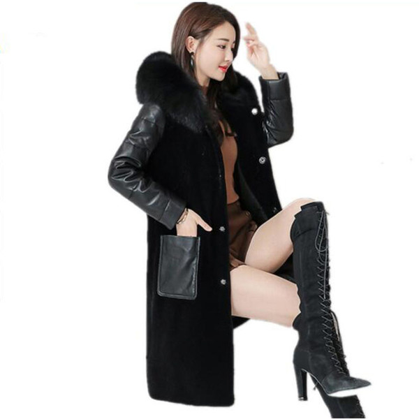 2019 Winter New Women's Real Fur Coat Sheep Shearing Spell Leather Fox Fur Hooded Outer Fashion Loose Thick Warm Faux Jacket