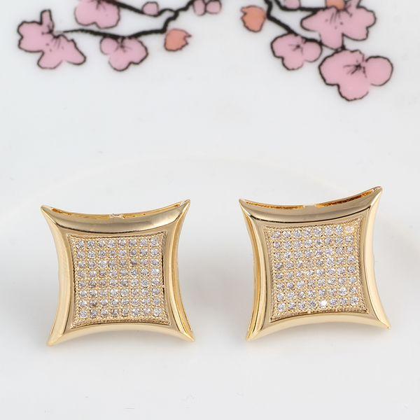 Brand diamond letter c wedding Stud earrings women men Luxury white Zircon earrings gold silver rose Vintage geometric Jewelry wholesale