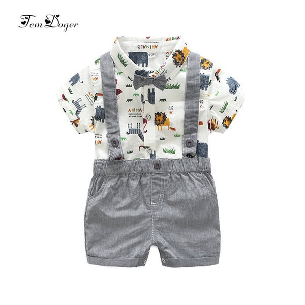 Xirubaby Newborn Baby Boy Clothes 2017 Summer Infant Boy Clothing Set Short Sleeves Graffiti Shirt Rompers Overalls 2pcs Outfits J190520