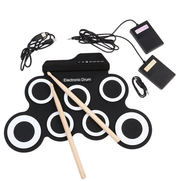 Electronic Drum Pad With Drumsticks Pedal Portable Digital USB Drum Pad Foldable Silicone Musical Instrument