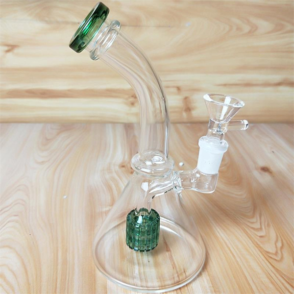 Clear With Little Green water pipes with 14.4mm Glass Bowl 19cm Height dab rig In Stock