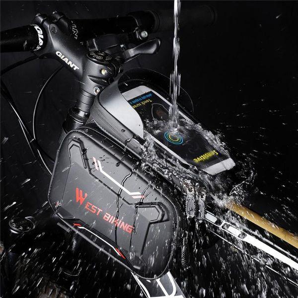 top popular Cycling Bags WEST BIKING Bicycle Front Frame Bike Bag Waterproof Screen Touch Tube Phone EVA Earphone Hole Accessories 2021