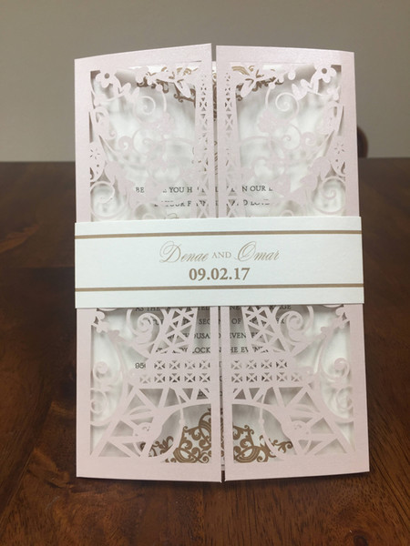 Diy Eiffel Paris Tower Laser Cut Wedding Invitation 2019 Quinceanera Invites With Belly Band Laser Cut Sweet 15 Invitations Wed Favors Wedding