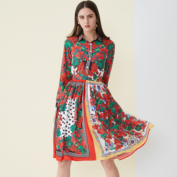 Pastoral Style Blooming Sea Otter Print 2019 Spring and Summer New Style Knee-length Skirt Lapel Long-sleeved Dress