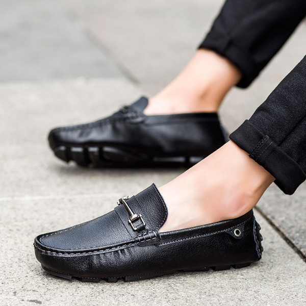 Fashion Mens Shoes Casual Slip on Men Leather Shoes Luxury Nice Men Leather British Style Summer Spring Driving Shoe