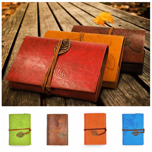 top popular PU Cover Coils Notepad Book Soft Copybook Blank Notebook Retro Leaf Travel Diary Books Kraft Journal Spiral Notebooks Stationery DBC DH1483 2021