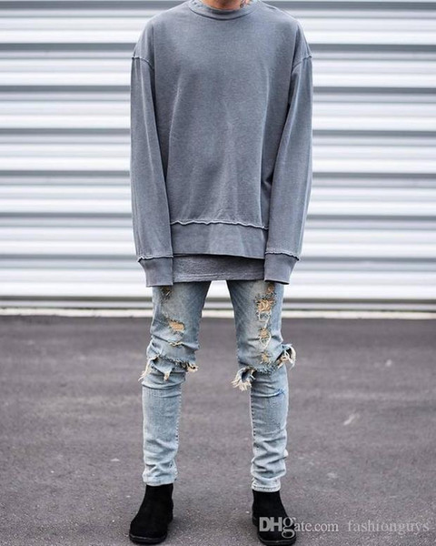 Man's Jeans Europe and the United States popular knees broken knife cut erect big hole craft Slim thin stretch elastic high street jean