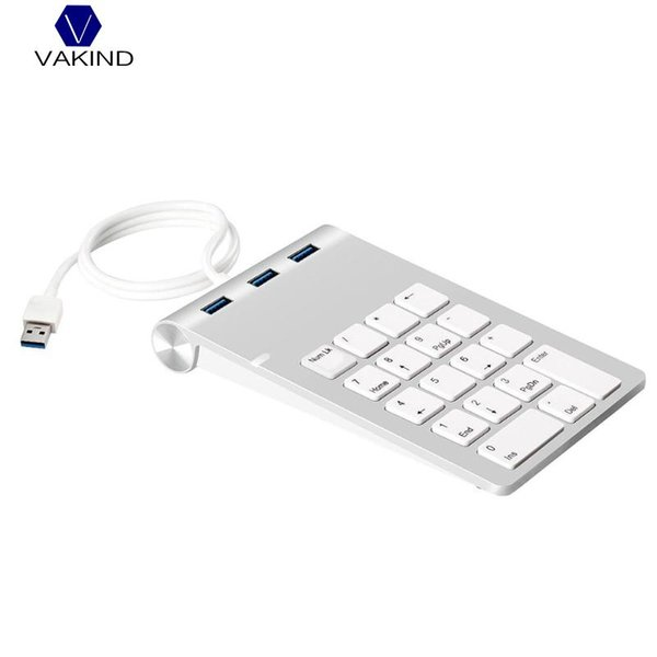 Portable Numeric Keypad 18 Keys 3 Port USB 3.0 Hubs Digital Keyboard Ultra Slim Numeric Single Keyboard for Compute PC Laptop