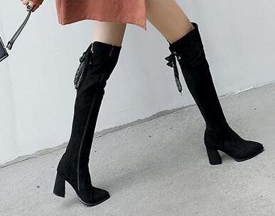 New Arrival Hot Sale Specials Influx Sexy Spike Retro Super Winter Female Snow Suede Thin Legs Stretch Large Size Knee Boots EU32-43