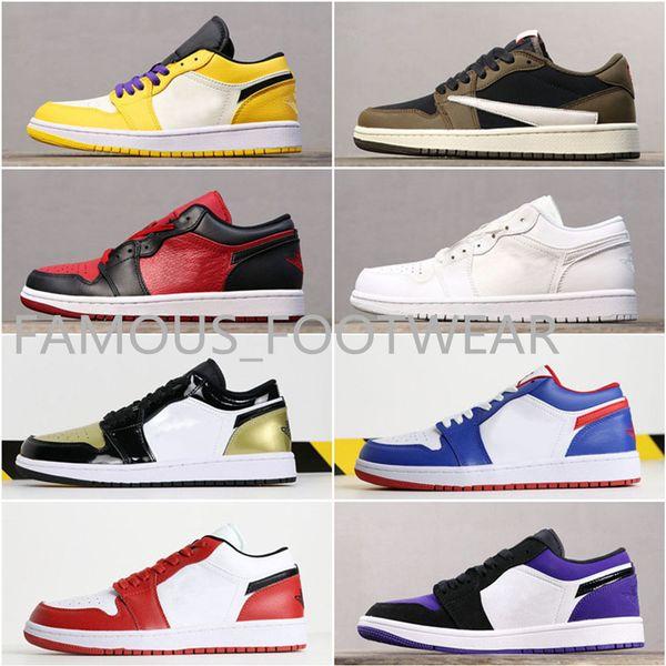 Top 3 gold Low cut J 1 Zapatos de baloncesto casuales de Chicago Atmosphere Zapatillas de deporte para mujer con punta negra Mermelada espacial Zapatos Mystic Green Banned Lakers