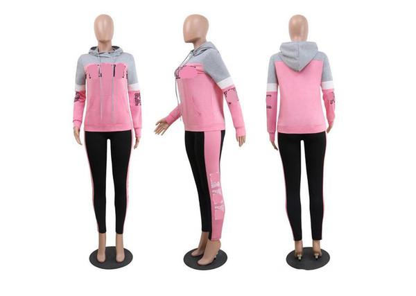 Fagucc19sshat cols en deux parties boîtes de nuit les fabricants de vêtements de vente directe de hoodies femmes européennes et américaines d'impression libre rose de