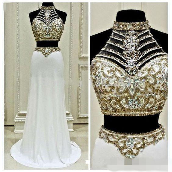 2019 New Fashion Two Pieces Formal Pageant Evening Dresses Luxury Beaded Crystals Long Homecoming Prom Gowns For Teens White Chiffon Custom