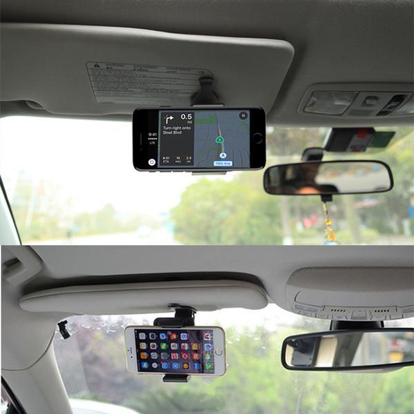Universal 360 Degree Car Clip Sun Visor Cell Phone Holder Mount Stand Soporte Movil For iphone XR GPS Holder in Car Mobile Clip