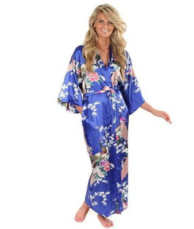 Sale Blue Hot Female Silk Rayon Robes Gown Kimono Yukata Chinese Women Sexy Lingerie Sleepwear Plus Size