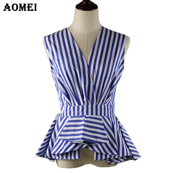 Femmes Modest Summer Blouse Wear To Work V Cou Bureau Dame Hauts Sans Manches Rayures Bleues Blusas Chemises Automne Mode Volants Peplum Y19062601