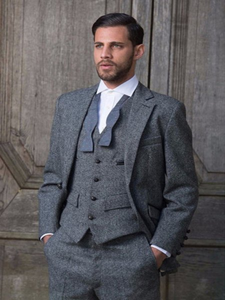Grey Tweed Suit Slim Fit Classic Groom Tuxedos Wedding Suits For Men Custom Made Costume Homme Vintage Party Prom Men Suits 3PCS