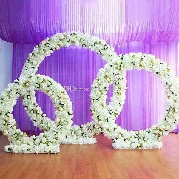 Kundengebundener neuer runder Eisenbogenhochzeitsstützenstraßenführungstadiumshintergrunddekoreisenbogen-Standrahmen mit silk künstlichen Blumen ALFF
