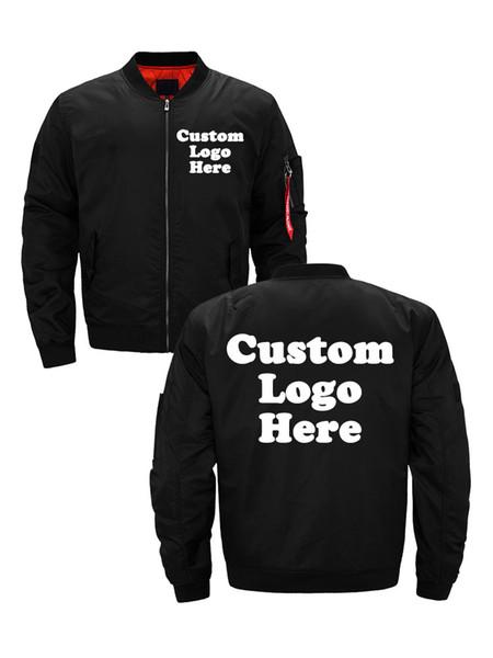 US Size Custom Logo Design Men Flying Jacket DIY Printing Zipper Coat Thicken Bomber Jacket Unisex Outerwear