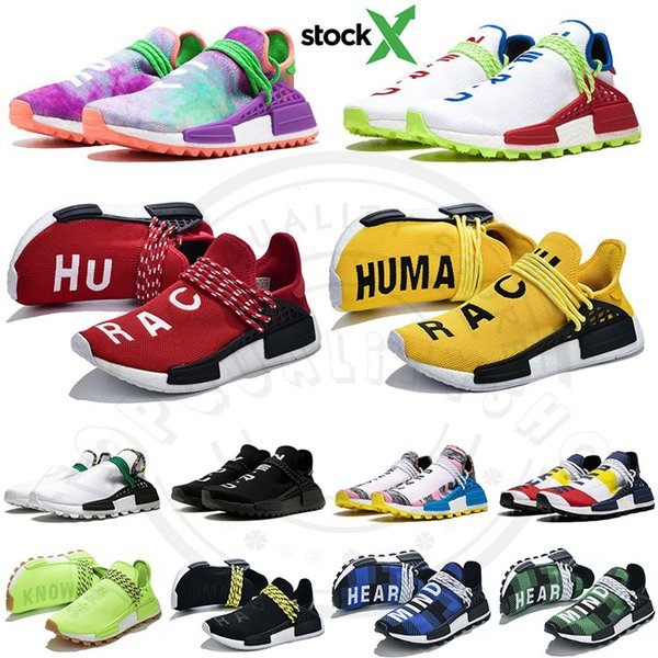best selling 2019 Nmd Human Race Running Shoes Men Womens Pharrell Williams Hu Designer Sports Sneakers Mens Outdoor Trainers Athletic Shoes With Stock X