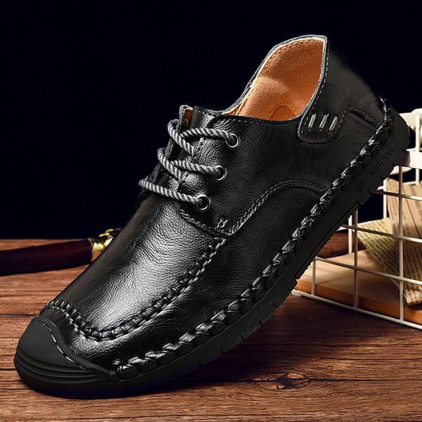 Scarpe in vera pelle da uomo cucite a mano Scarpe in vera pelle Piatto morbido Oxford Abito da banchetto Suola in gomma Suino interno