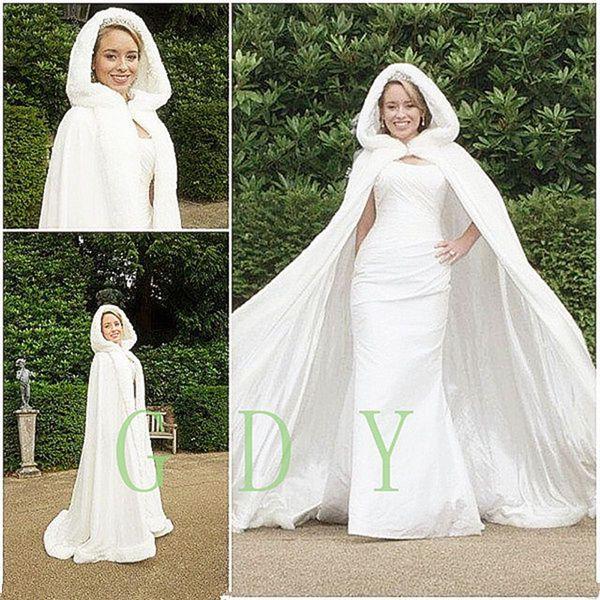 Stunning Fall Winter Fur Bridal Coat Wraps Jackets with Hat Cheap Bridal Wraps Warm Newest Long Wedding Cloak Capes Bolero