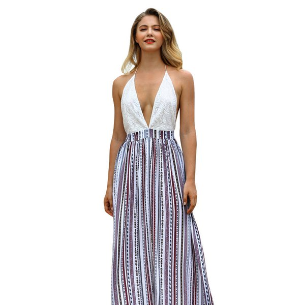 2019 Summer New Pattern Suit-dress Long Fund Camisole Reveal Back Sexy Dress Split Joint Skirt Woman clothing ladies casual dresses for