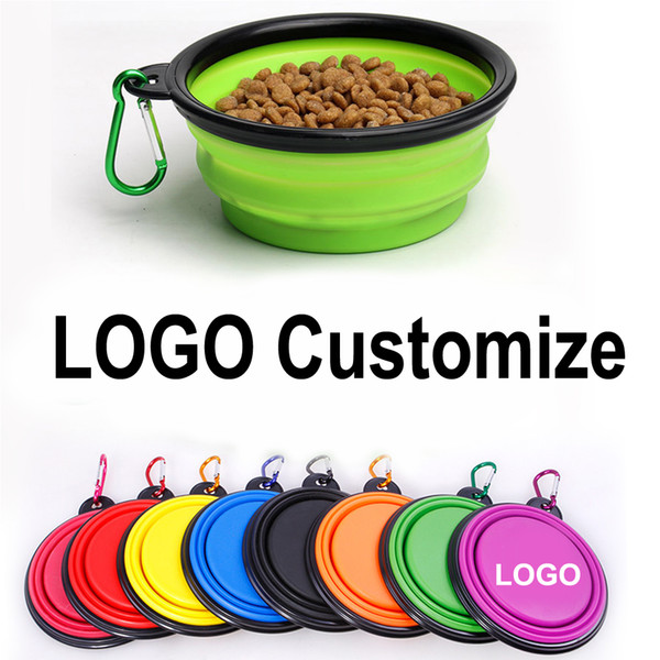 top popular LOGO Custom 35oz Large Collapsible Home Pet Feeder Bowls with Carabiner Universal Small Puppy Dog Cat Sports Animal Supplies Training Foldable Travel Bowl 002 2021