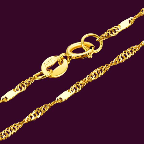 Auténtica 18k 1.0mm collar de oro amarillo de Singapur cadena de acoplamiento de 17,7 pulgadas L V191203