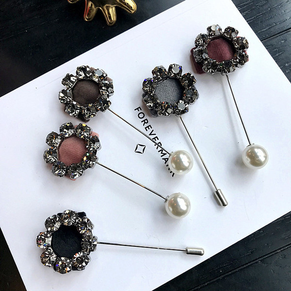 Japanese and Korean fashion accessories exquisite auger flowers swan velvet suit pearl brooch brooch word pin