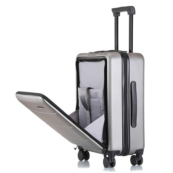"Business fashion front open rolling luggage men women spinner carry on suitcase 18""20""22""24""26 inch brand travel trolley case"