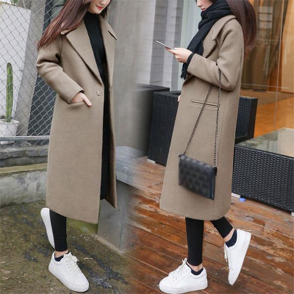 Lungo Solid Turn-down Collar misto lana del cappotto del tasto del manicotto lungo delle donne ispessiscono il cappotto allentato femminile casuale Outwear Large Size Inverno