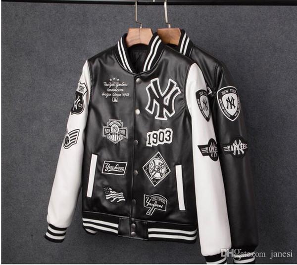 Livraison gratuite Hommes vestes Marque Caual Hommes new york pu manteau De Mode Hip Hop broderie baseball NY veste Sweats