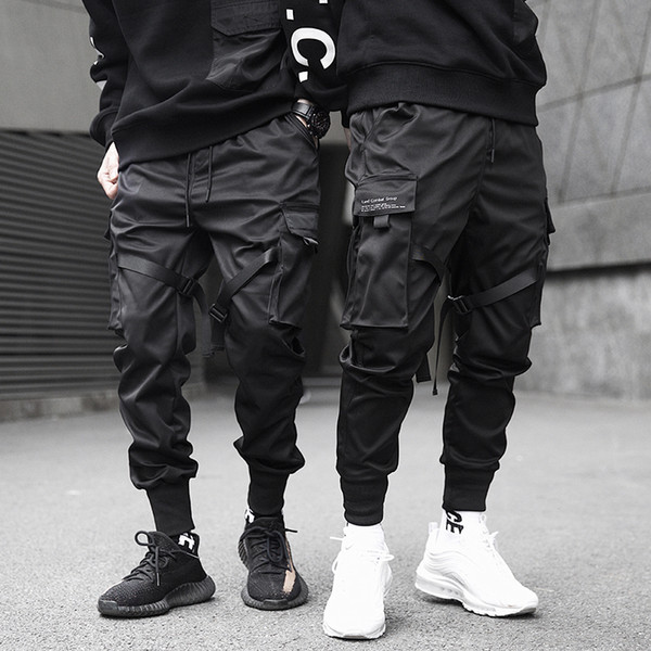 top popular 2019 Men Ribbons Block Black Pocket Cargo Pants Harem Joggers Harajuku Sweatpant Hip Hop Tatical Trousers 2020