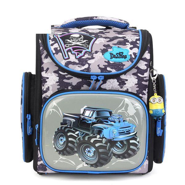 Delune Brand Boys Waterproof Grade 1-3 Schoolbag Children Girls Orthopedic Backpack Cars Mochila Escolar Kids Cartoon School Bag