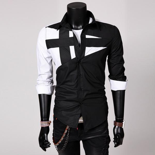 Hot style großhandel koreanisch männer mode hemd umdrehen kragen langarm schlank persönlichkeit langarmshirts casual blusas