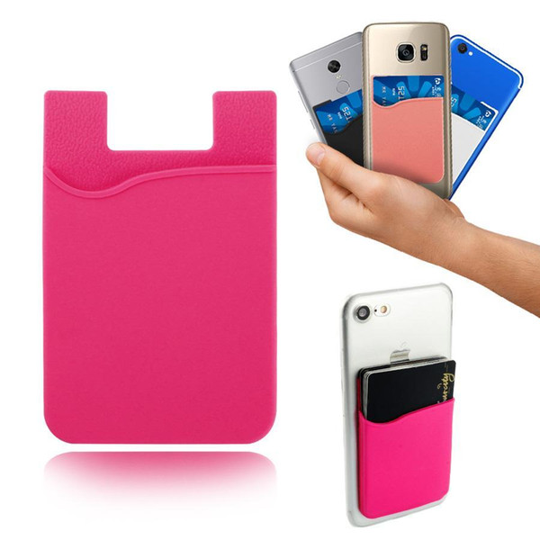 TOP Silicone Wallet Credit Card Cash Pocket Sticker 3M Adhesive Stick-on ID Credit Card Holder Pouch For iPhone Samsung Mobile Phone