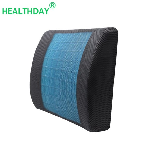 lumbar support breathable mesh fabric gel memory foam core pillow for chair soft cool comfortable office car home back cushion
