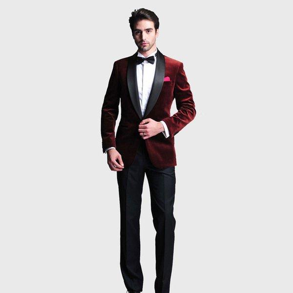 Borgogna Velluto Slim Fit Uomo Abiti Scollo Risvolto Abiti da sposa Per uomo Con giacca Pantaloni Due pezzi Prom Smoking Smoking One Button Blazer