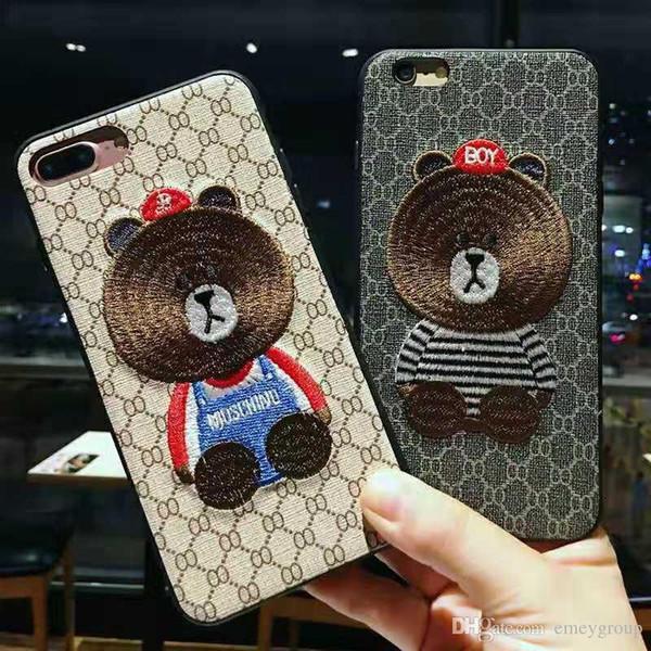 Moda bonito Bordado Urso Marrom capa de Pelúcia para o iphone xs xr max 6 6 splus 7 8 além de x lindo telefone de volta shell casos coque